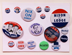 Various political campaign buttons
