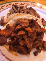 La Colmena: adobada and lengua tacos
