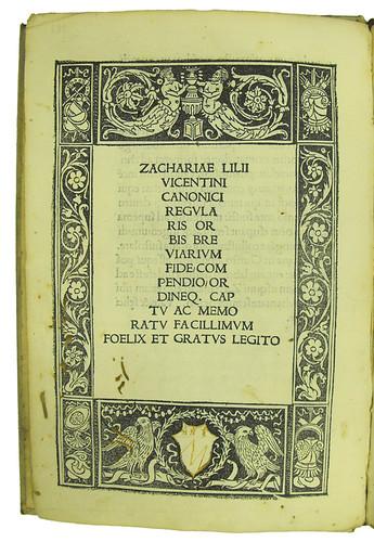 Woodcut border on title page of Lilius, Zacharias: Orbis breviarium