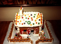 Its that time of the year again........ (ineedathis, Everyday I get up, it's a great day!) Tags: christmas gingerbreadhouse modeling candy royalicing cane house old 1984 figures gumpaste baking sugar dough snow mms fence gates polaroid scan