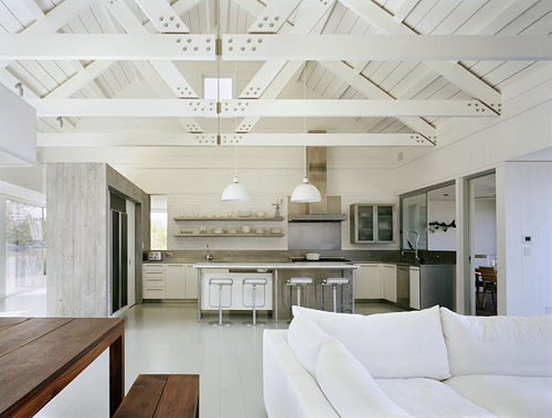 Painting Exposed Wood Ceiling: An All-white Lake House