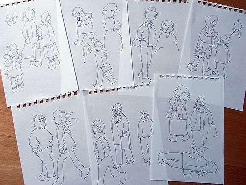 道行く人々の素描 rough sketch of the walking people