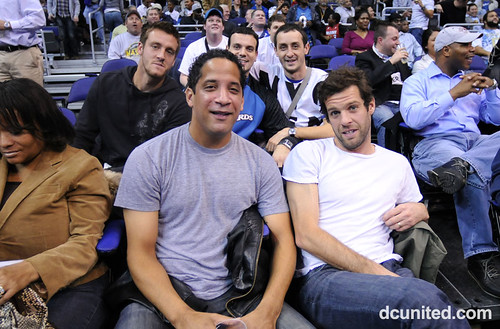 Milos Kocic, Judah Cooks and Ben Olsen at a Wizards game