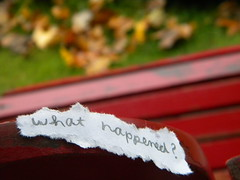 i think i was blind before i met you. (emily cain) Tags: red leaves word words emily chair nikon focus dof michigan text explore question coolpix what phrase traversecity frontpage happened cursive whathappened