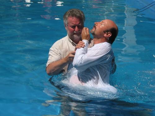 Rick baptizing Walter