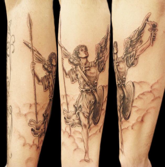 Uriel Archangel tattoo. Miguel Angel Custom Tattoo Artist