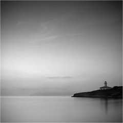 [ I remember Mallorca ] (panfot_O (Bernd Walz)) Tags: morning sea blackandwhite bw lighthouse square landscape dawn coast spain quiet peace calm silence minimalism mallorca calmness firstlight minimalisticlandscape panfoto