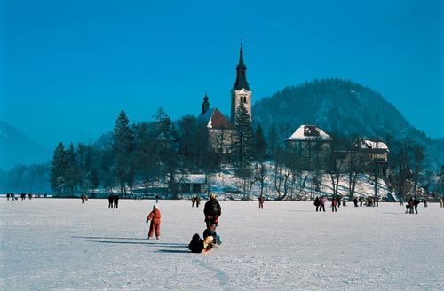 Walking on frozen Lake Bled