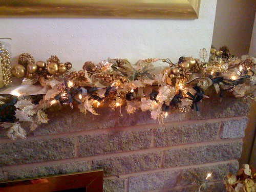Garland and Lights over my Fireplace.