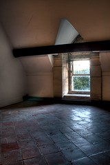 Attic Room HDR (roganjosh.) Tags: old light red white reflection building tree window stone architecture contrast canon buildings grey quiet empty room dramatic peaceful gritty beam tiles urbanexploration attic 1855mm treeline hdr urbex 400d