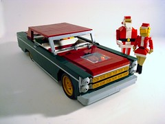 A Galaxie of Holiday Cheer! (Lino M) Tags: santa christmas red green ford car dark happy gold lights holidays lego convertible 1966 66 gifts 500 claus natasha lino galaxie lugnuts agalaxieofpossibilities