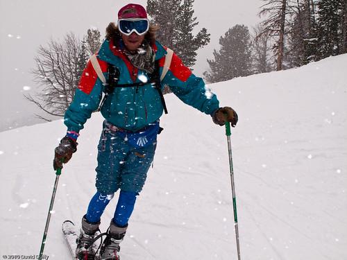 Hunter in traditional Tele Ski gear.