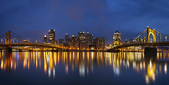 Pittsburgh Downtown Skyline Reflection, Pennsylvania (Lightvision []) Tags: travel bridge blue sunset ohio sky panorama reflection tourism architecture night clouds sunrise river photography dawn office long exposure downtown neon pittsburgh exterior nightscape pennsylvania stadium pano landmark calm business pa getty steeler skycraper pnc giga autopano canon1740mm lightvision
