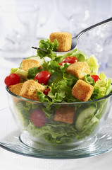 Croutons 5 (fhansenphoto) Tags: food salad fork bowl croutons