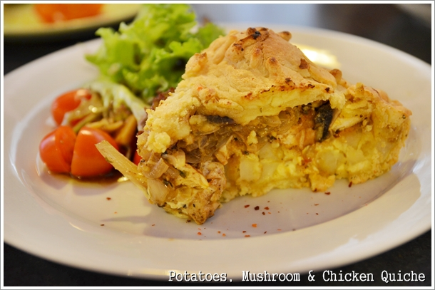Potatoes, Mushroom, Chicken Quiche