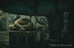 The Human Machine (micahmoreland) Tags: creepy horror surreal surrealism surrealist conceptual costume world war 2 ii dystopian scary haunting grunge texture male toxic death gas mask baby doll child urbex abandoned machine shop urban exploration dark mechanical cinematic