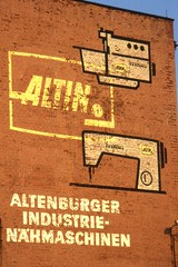 DDR  ALTIN Ghost Sign.  Altenburg, Germany. Jun 1993 (sludgegulper) Tags: germany sewing machine ddr gdr ghostsign veb nhmaschine altenburg altin altenburger nhmaschinen textima industrienhmaschinen