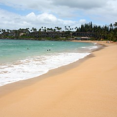 Golden sands at Napili Beach in West Maui near Kapalua.