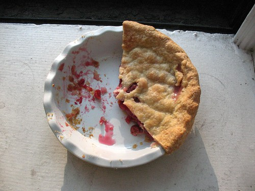 cherry pie, half-gone