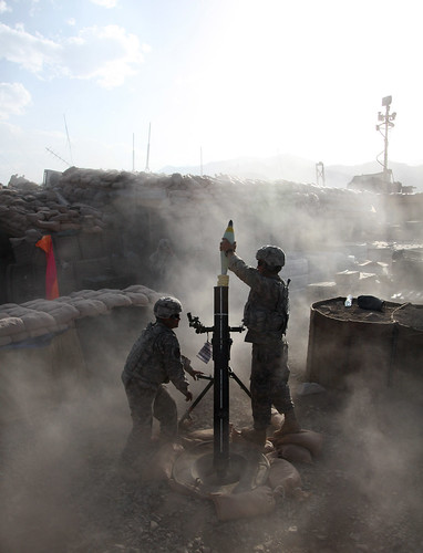 Soldiers Lay Down Mortar Fire in Afghanistan