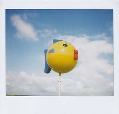 beach day (Antoaneta) Tags: sky fish beach yellow polaroid july plastic marker instant spectra normandy trouville c2010