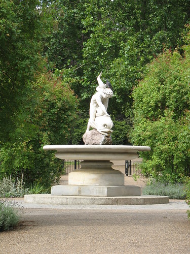 Boy and Dolphin (1863) in the rose garden, Hyde Park Corner, London