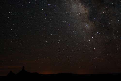 The night sky over Valley of the Gods, Utah