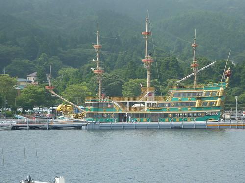 Detalle barco pirata en Hakone