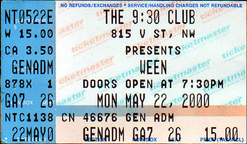 20000522 - Ween - ticket stub - 930 Club