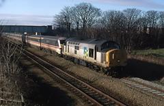 37886 in January 1996 (Penmorfa's Photos) Tags: station train chester rhyl growler prestatyn holyhead passengertrain ews doubleheaded class37 regionalrailways dutchlivery