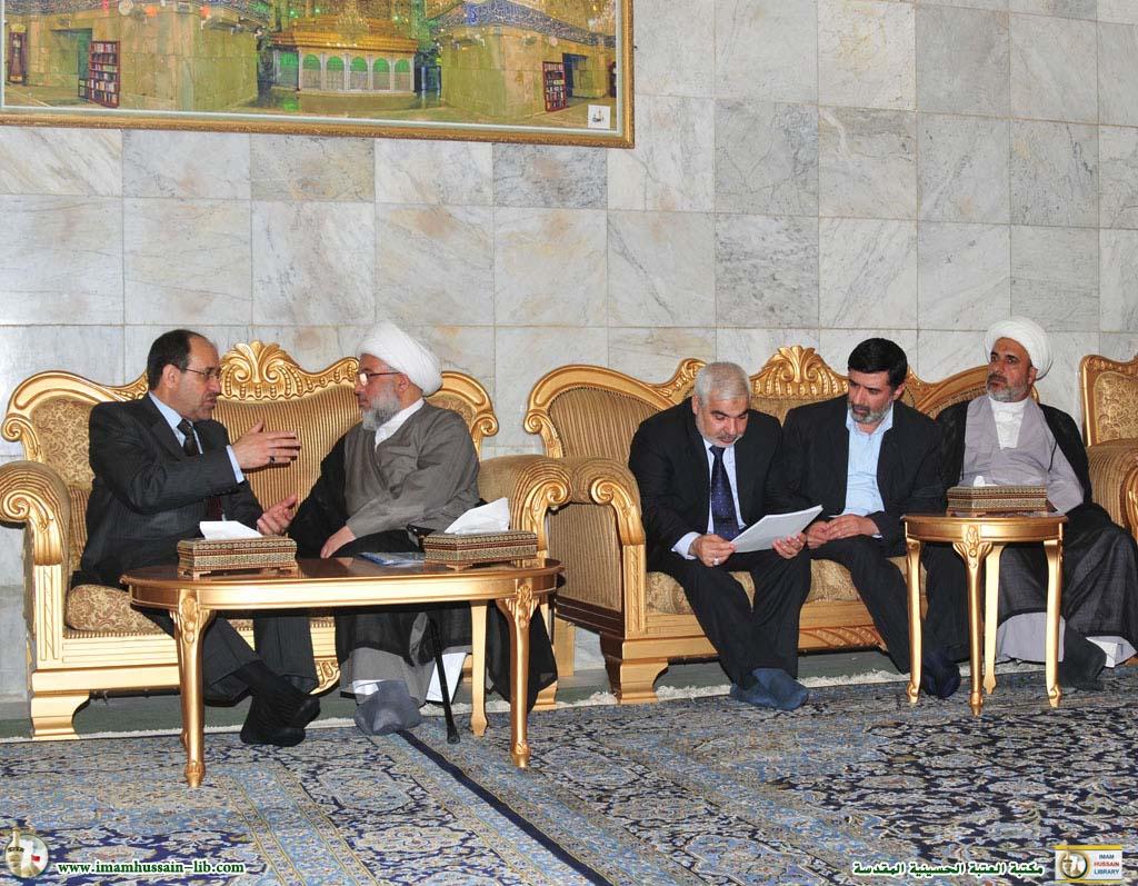 سماحة الشيخ عبدالمهدي الكربلائي يستقبل السيد رئيس الوزراء نوري المالكي