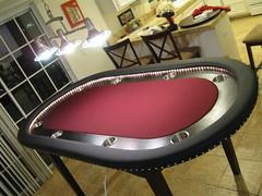 Burgundy Poker table with Ebony Finish (surf1punk) Tags: lighting wood table rope casino poker pokertable cupholders pokerlighting