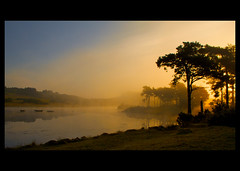 Knapps Widescreen (ericwyllie) Tags: morning trees fog sunrise landscape outdoors dawn scotland landscapes eric outdoor background backgrounds loch 2009 kilmacolm gloaming inverclyde knappsloch ericwyllie