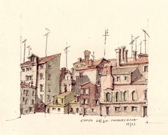 Campo De La Maddalena (Flaf) Tags: venice colour water pencil tv drawing cable florian residential venise venezia venedig rialto afflerbach
