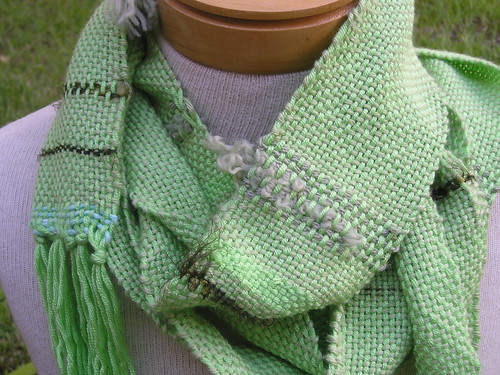 Handwoven: Electric green skinny scarf