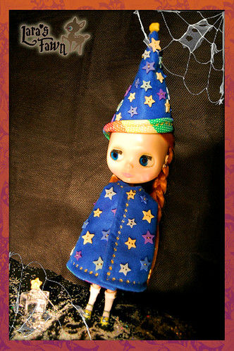 MAGIC MERLIN`S Cape and Hat  OOAK HALLOWEEN Custome Set for Blythe Dolls