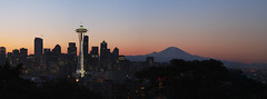 Seattle Morning (BHagen) Tags: seattle morning panorama sunrise nikon mount rainier spaceneedle pugetsound kerrypark mtrainier d80