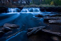Seasonal Flow (baldwinm16) Tags: autumn fall nature water creek waterfall illinois october rocks stream dusk scenic d300 waterfallglenforestpreserve sawmillcreek dupagecountyforestpreserve illinoisforestpreserve