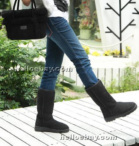 Ugg Boots Sheepskin Comfort Me Kookaburra Tall Classic - Black. Zoom