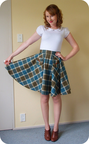 Teal Wool Circle Skirt2