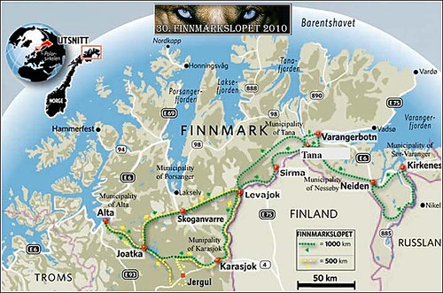 Finnmarkslopet-Streckenplan