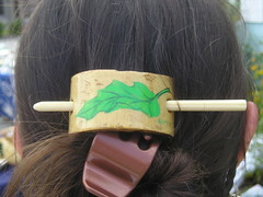 Hand-painted bamboo hair thingie