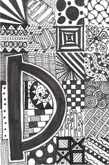 d (HipGiraffe) Tags: blackandwhite pattern circles letters doodle boxes swirls alphabet zentangle