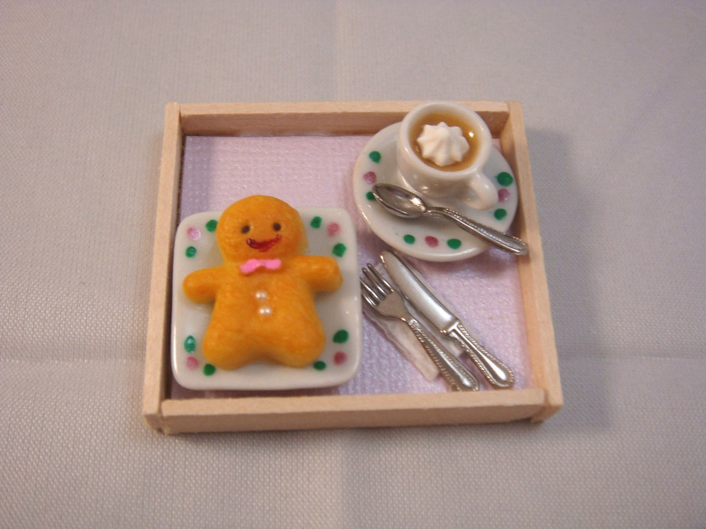 Dollhouse Miniature - Tray of Jumbo Gingerbread Man Cookie with Hot Mochaccino Set
