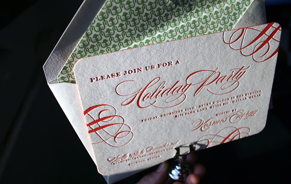Letterpress Holiday Invitation by Smock
