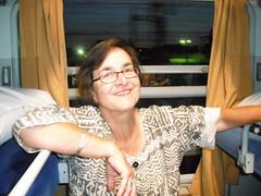 Liz relaxing in the sleeper (EuCAN Community Interest Company) Tags: poland 2009 eucan milicz baryczvalley