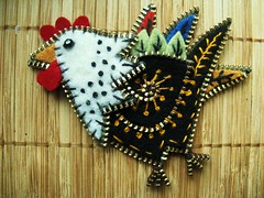 How about a rooster!! (woolly  fabulous) Tags: recycled brooch felt zipper rooster embroidered ecofriendly