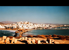 Naxos (angelsgermain) Tags: houses sea summer white beach island town colours harbour greece fortress chora cyclades naxos aegeansea platinumheartaward flickrestrellas