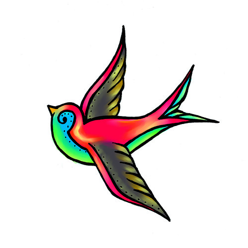an extra element in some of my design sketches. retro tattoo swallow