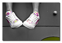 New Shoes (AndrewG:Photography) Tags: blackandwhite bw white black feet canon shoes charlotte sneakers trainers 5d selectivecolour